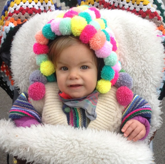 PUFFLE 1-2 Years Baby Babies Pom Pom Wool Bonnet Gift Decoration Made To Order Neon Bobbles Unisex