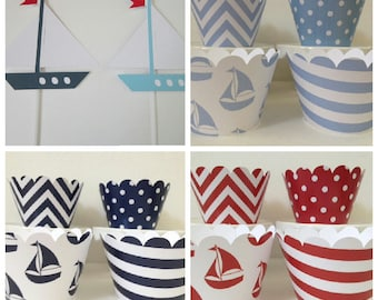 Nautical Boat Cupcake Wrappers ~ Light Blue ~ Navy ~ Red