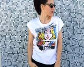 Pop art Roy Lichtenstein inspired white tshirt loose fit,scoop neck and cropped hems (laser cut)