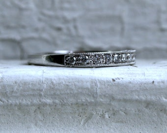 Vintage Pave Diamond Wedding Band.