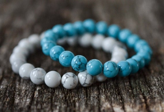 8mm Howlite Turquoise Bracelet Set, Bead Bracelet Set, Gemstone Bracelet Set, Womens Mens Bracelet Set,  Stretch Yoga Bracelet Set, Gift