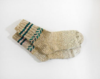 Hand Knitted Dog Wool Socks - Brown, Beige, Grey, Size Large