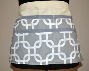 Gray and white Geometric Utility Apron, Womens Vendor Apron, Teacher Apron, Carpenter Apron, Stylish teacher apron