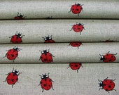 Ladybird print--Ladybird Ladybug on Canvas--Red & Heart ideas--Canvas Linen Printed Fabric--All DIY Projects