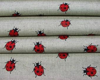 Ladybird print--Ladybird Ladybug on Canvas--Red & Heart ideas--Canvas Linen Printed Fabric--All DIY--wholesale available