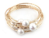 Large White Freshwater Pearl Bangle 14kt Gold Filled