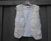 Vintage Ornate and Embellished White Vest