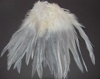 Rooster Saddle Hackle - Grey Dyed Tip