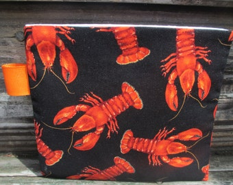 Reusable Snack Bag with Velcro Closure: Lobster Dinner