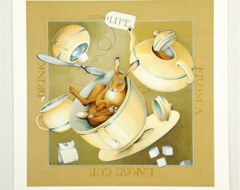 archival mini print baby rabbit art teapot reprint