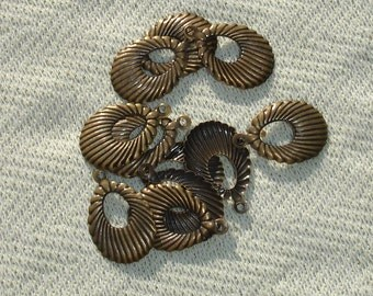 Bronze Drop Charms - 5 pcs - Jewelry Making Supplies