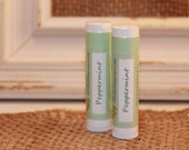 2 Tubes - Peppermint Lip Balm - Lanolin Free - 100% Natural