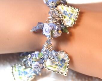 Bracelet, Broken China Jewelry, Broken China Bracelet, Heart Charms, Lampwork Beads, Blue Taffeta, Sterling Silver, Soldered Jewelry