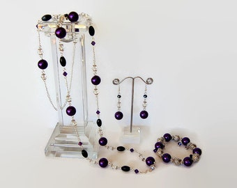 Purple, black, white and silver Swarovski crystal long necklace, earrings and bracelet