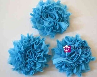Set of 3 Flowers - TURQUOISE - The Lily Collection - Sparkle/Glitter Shabby Chiffon Flowers - Blue Green DIY Bridal Craft Supplies Blossom