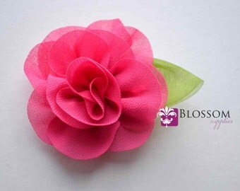 """HOT PINK Chiffon Leaf Flowers - The Penelope Collection - Chiffon Flowers with Green Leaf - Headband Flower - DIY Headbands - 2"""" Roses"""