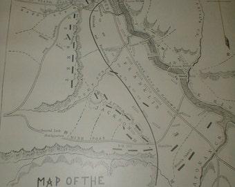 Map Of The Battle Of Fredericksburg *Antique Book Page* Civil War *Original Piece*