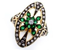 Antique Emerald Ring, 9ct 9k Gold Victorian Ring, Diamond, Flower, Vintage Womens Ring - Avail in Various Gems - Custom R59