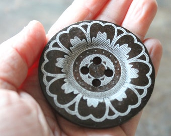 """Huge Brown Wooden 60mm Big Bold Button (2 3/8"""") - White Printed Flower Design  - Perfect for Handknit Sweaters Jackets Shawls Ponchos (1)"""