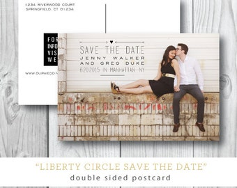 Liberty Circle Printed Save the Date   Wedding Photocard Postcard   Printed or Printable by Darby Cards