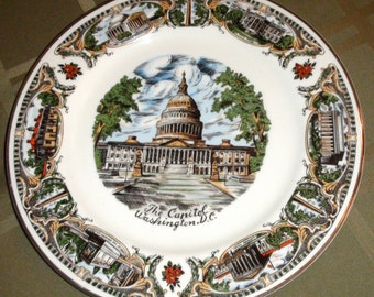 Capsco Souvenir The Capital Washington D.C. Decorative Dinner Plate