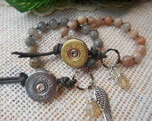Shotgun Jewelry 20 Gauge ~ Hand Knotted Faceted Sunstone Bracelet ~ Leather Charms Crystals ~ Made in USA ~ Bohemian Cowgirl