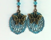 SALE! Long verdigris patina boho butterfly earrings, blue green oval filigree gypsy earrings with antique brass butterfly charms, Capri blue