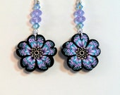 SALE! Lavender Butterfly Wing earrings, black, purple blue and white boho butterfly polymer clay long dangle earrings silver centers crystal