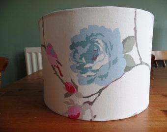 Handmade 30 cm Drum lampshade in blue, white, pink, flowered, bird