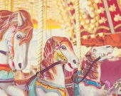 Carnival Fine Art Photography retro vintage carousel horses photo print nursery baby children kids photo print wall art