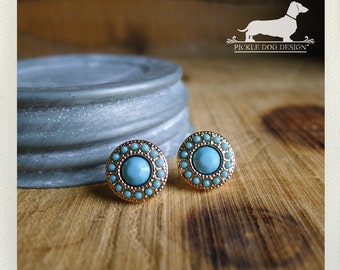 Seafoam Stud. Post Earrings -- (Vintage-Style, Turquoise, Blue, Small Studs, Classic, Rose Gold, Shabby Chic, Bridesmaid Jewelry, Under 10)