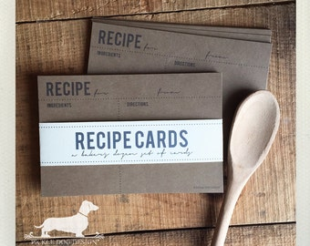 Classic Kraft. A Baker's Dozen (Qty 13) Set of Recipe Cards -- (3x5, 4x6, Vintage-Style, Simple, Cute Bridal Shower Favor, Rustic, Under 15)