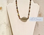 "Men's Necklace: Fire Agate,Aventurine, Jasper, Hematite And 925 Sterling Silver  ""Worthy """