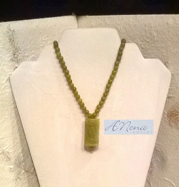 "A Men's/Man's Necklace/ Choker: Korean Jade and Quartzite  ""I'm Prosperous"" Handmade By ANena Jewelry"
