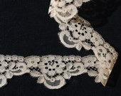Coffee coloured vintage antique French Alençon scalloped lace, by the yard - 2 inches in width