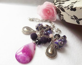 Pink Bib Necklace Bead Jewelry Pink and Purple Bead Necklace, Statement Necklace, Jewelry for Women, Boho Necklace