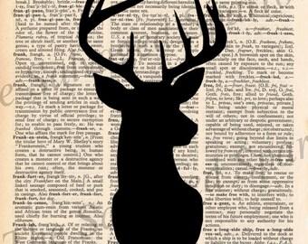 Vintage Dictionary Deer Silhouette Print