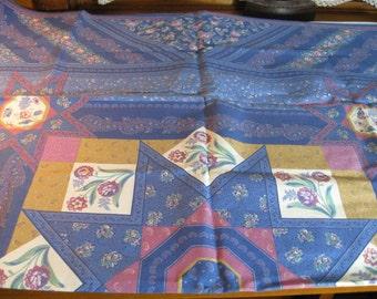 Blue Floral Quilt Panel 34x44