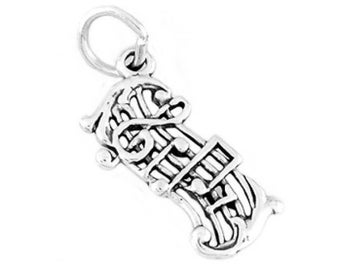 Sterling Silver Music Measure Charm (Flat charm)