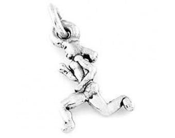 Sterling Silver Small Female Runner Charm (3d Charm)