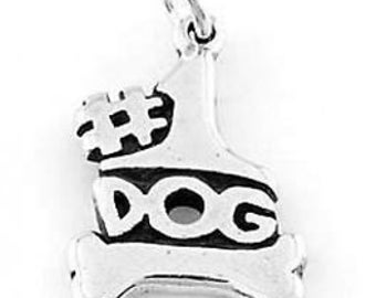 Sterling Silver #1 Dog With Bone Charm Pendant (One Sided Charm)