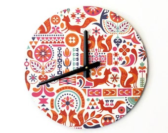 Wall Clock, Fox Clock, Whimsical Wall Clock, Childs Wall Clock,  Housewares,  Home and Living, Unique Clock,Time