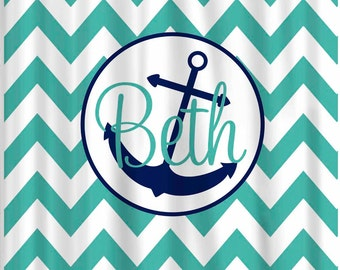 Custom Chevron Anchor Shower Curtain Personalized