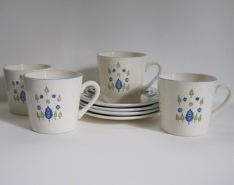 Vintage Swiss Alpine Cups and Saucers - Set of Four