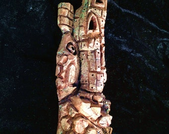 Whimsical,  gnome, elf or wood-spirit house, bark carving, spirit of the woods, cottonwood bark carving, orc, troll, goblin house