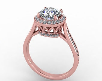 moissanite rosegold  engagement ring, with 0.38ct diamonds and 7mm moissanite center, style 18RGDM