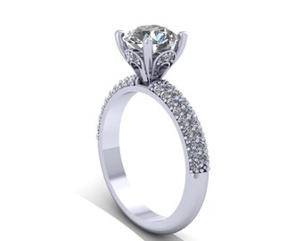 Diamonds  micro pave  setting engagement ring in 14k white gold and moissanite center,style 22WDM