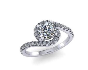 diamond engagement ring in 14k white gold and forever brilliant Moissanite center,custom rings, Style 39WDM