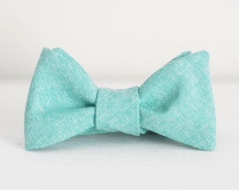 Chambray Bow Tie - Green