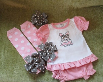 READY TO SHIP Baby Girls Outfit Frill Bunny Shirt Top with Bloomers  Leg Warmers Headband with Removable Hair Bow Size 3-6 Months